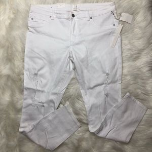 Caslon White Distressed Skinny Ankle Jeans NWT